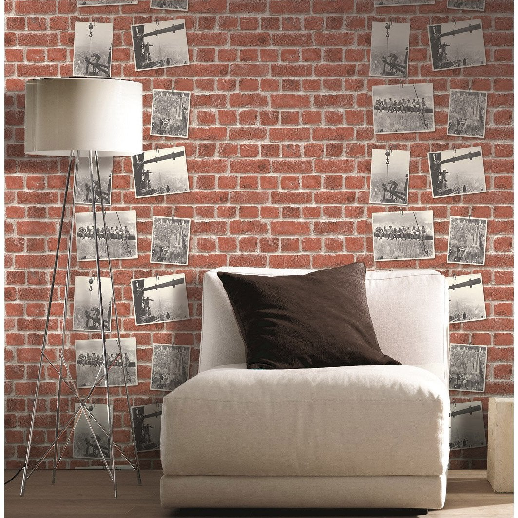 Papier peint concept bricks orange leroy merlin - Panneau imitation brique leroy merlin ...