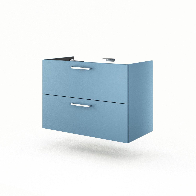 Meuble sous vasque x x cm bleu neo line for Meuble sous vasque 90 cm
