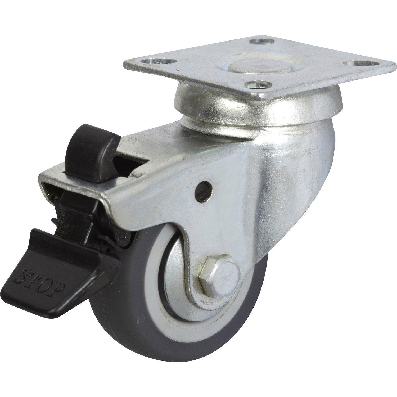 Roulette pivotante freins platine mm leroy for Roulette ancienne pour meuble