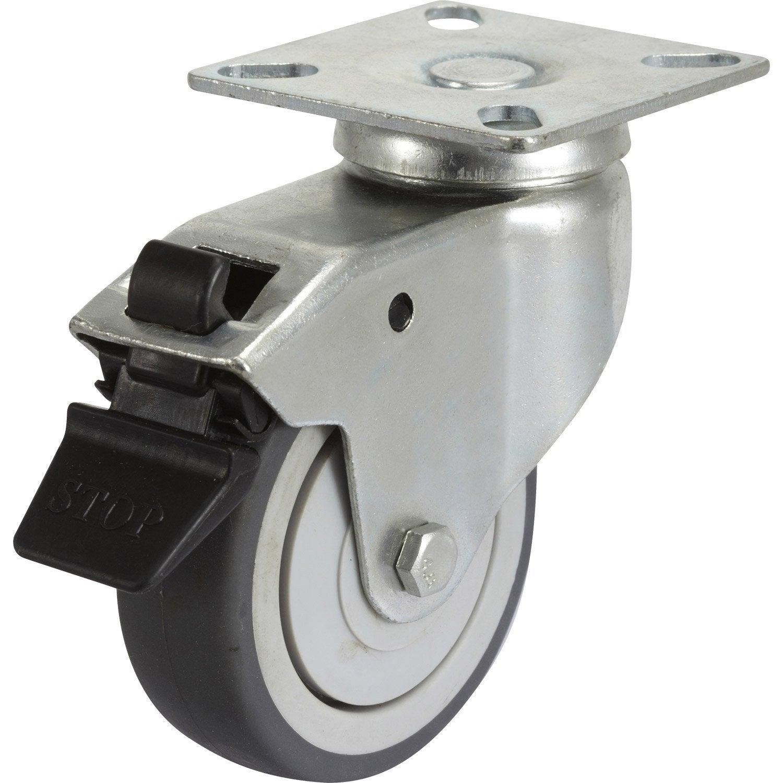 Roulette pivotante freins platine mm leroy merlin - Roulette industrielle pour meuble ...