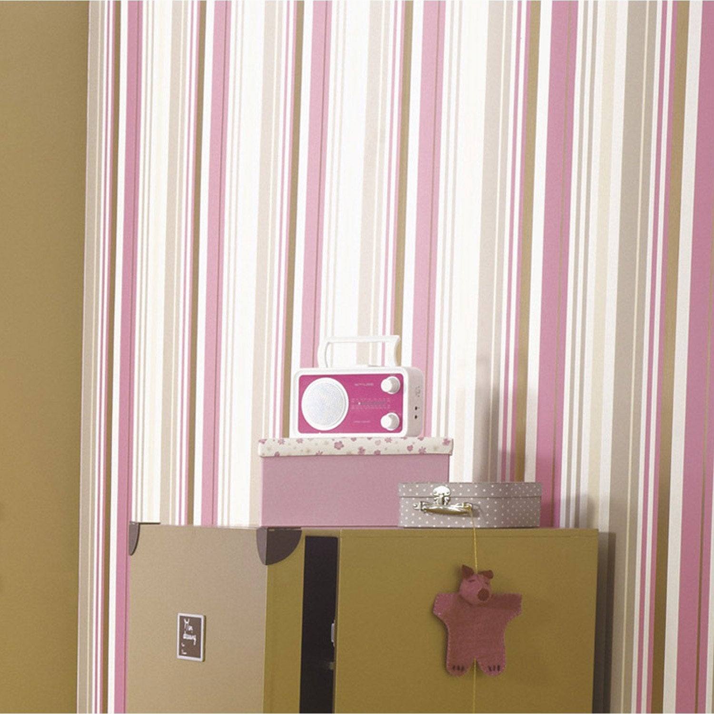 Papier peint papier lovee rayure rose leroy merlin - Papier capitonne leroy merlin ...