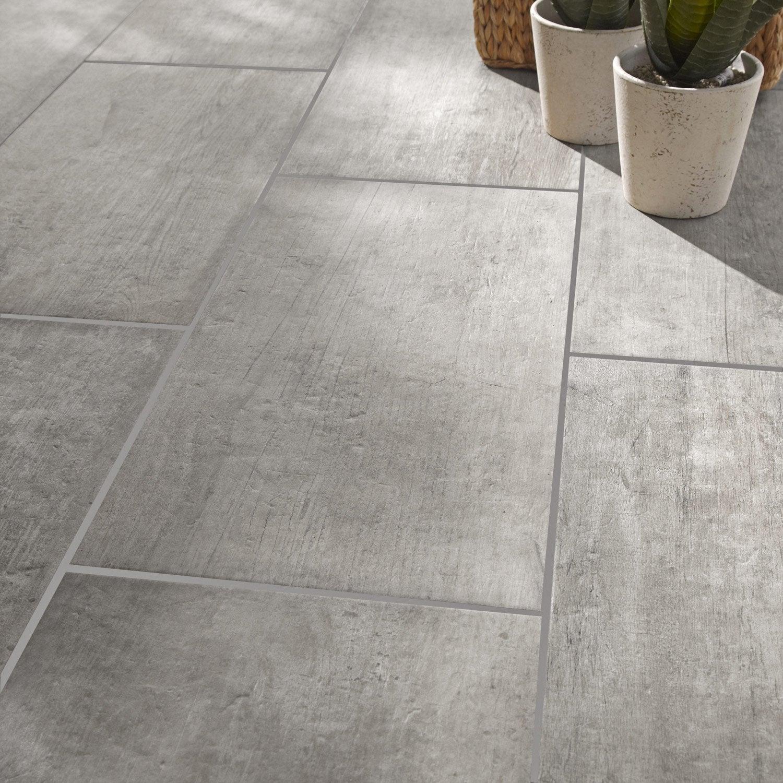 carrelage sol et mur gris effet bois saloon l 30 x l 60 cm leroy merlin