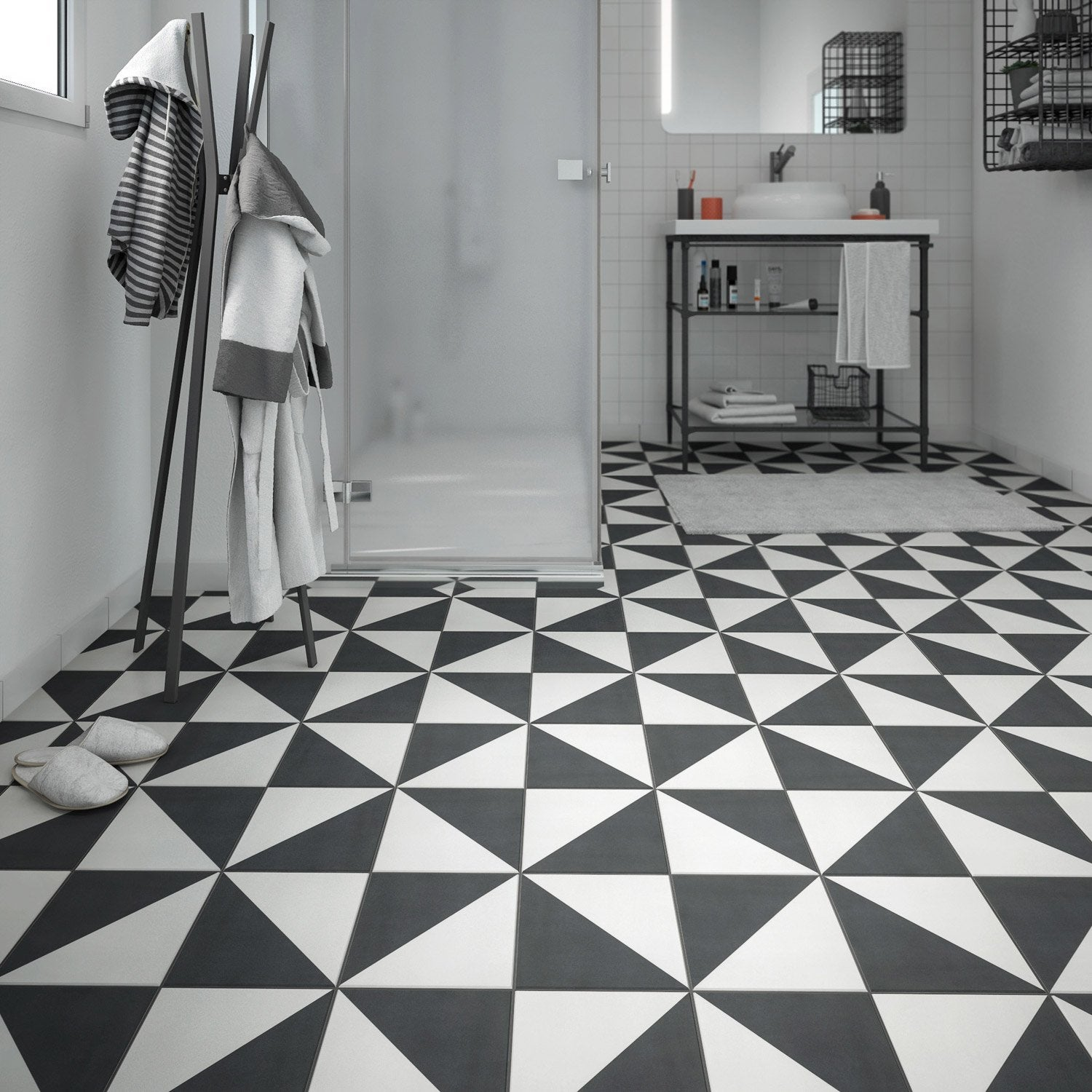 Carreaux ciment noir et blanc carrelage ciment baroque for Carrelage ciment