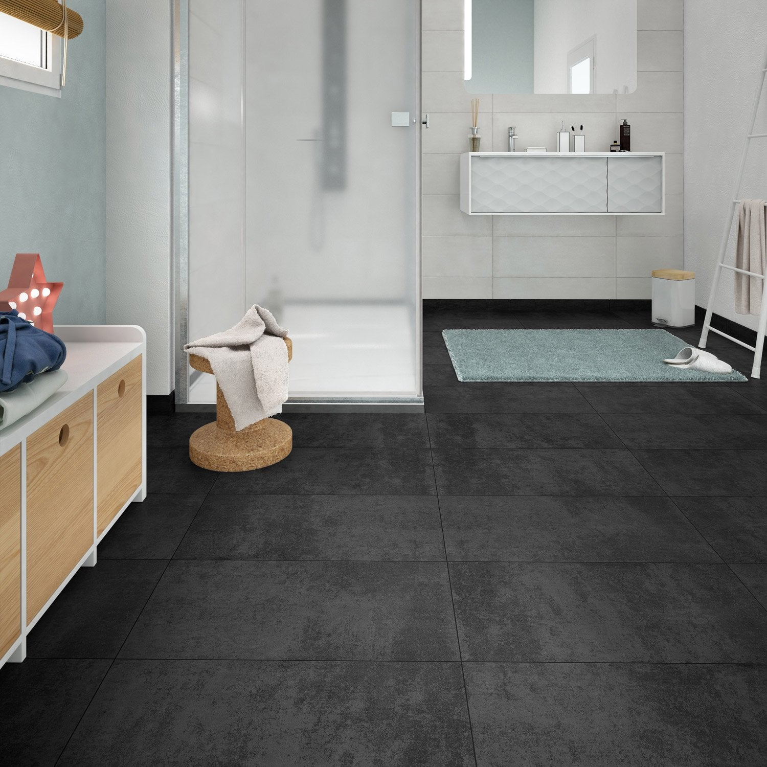Carrelage imitation beton cire leroy merlin from leroy for Carrelage sol noir