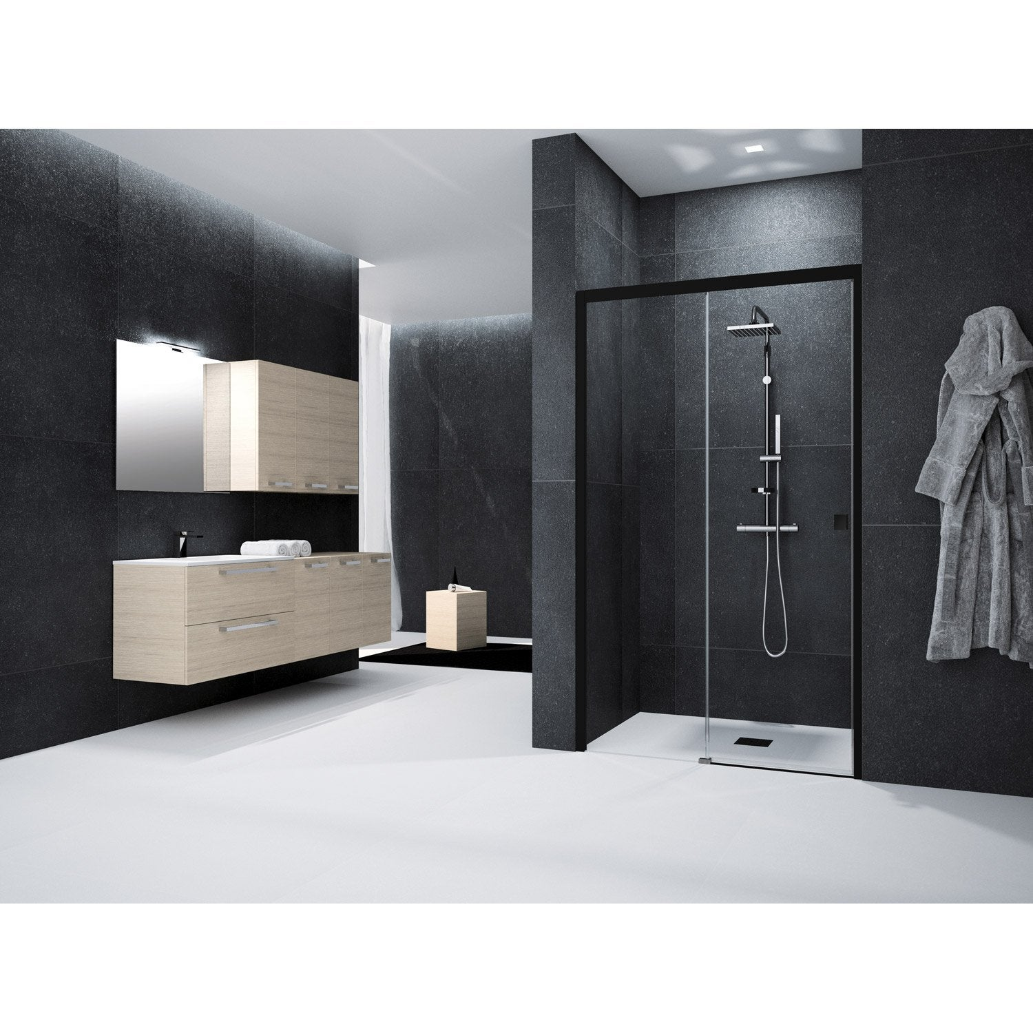 porte de douche coulissante 120 cm transparent neo. Black Bedroom Furniture Sets. Home Design Ideas