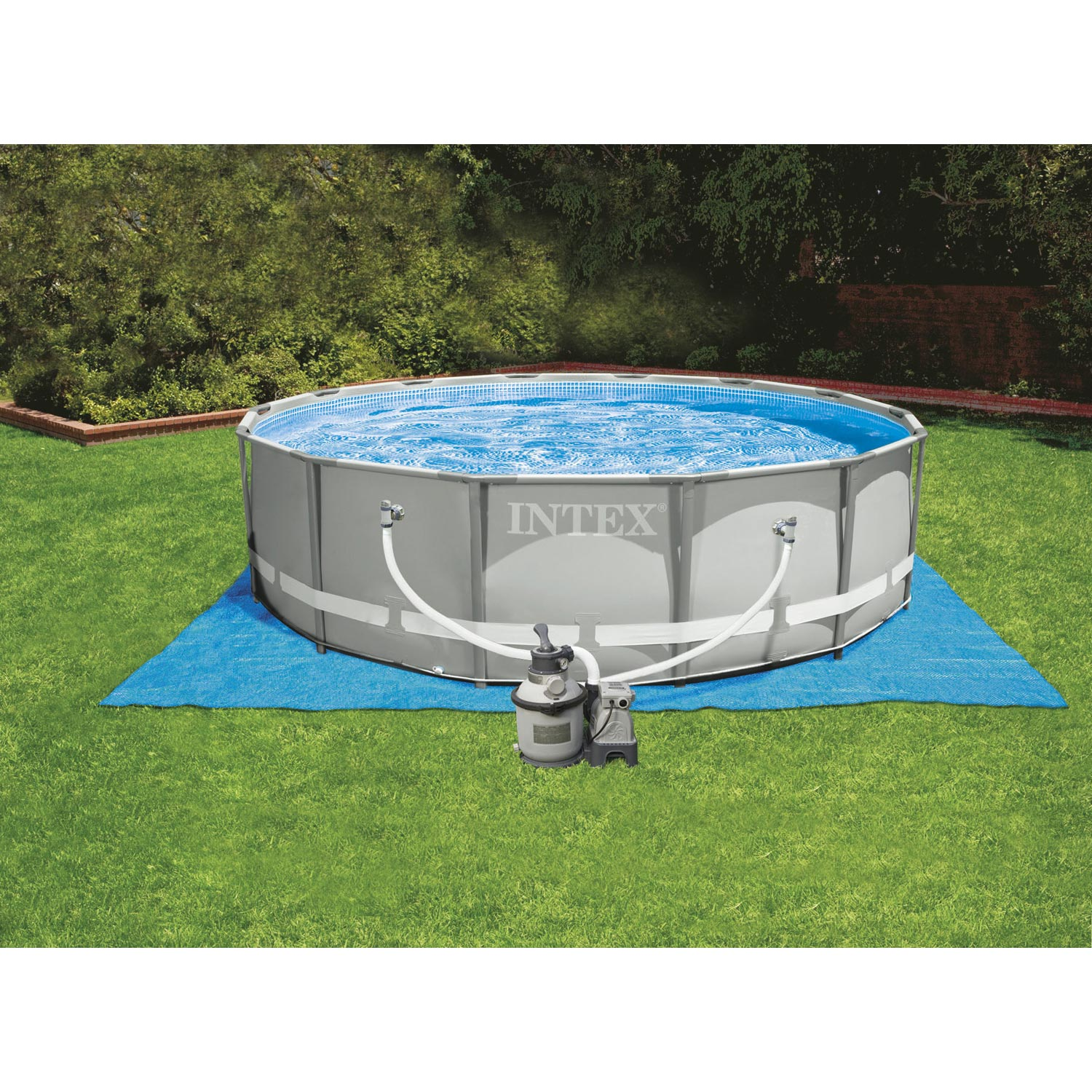 Piscine hors sol autoportante tubulaire ultraframe intex for Pompe piscine hors sol leroy merlin