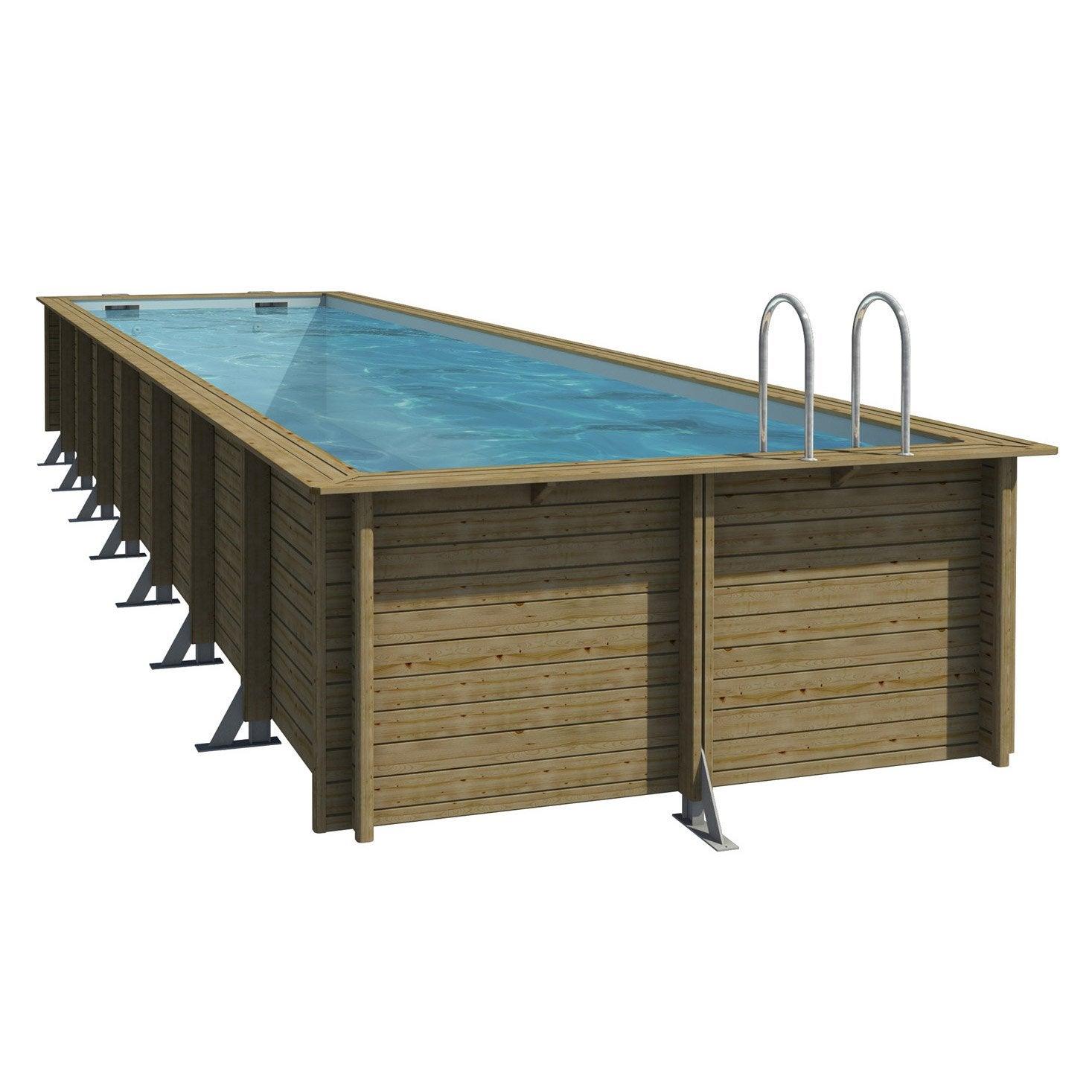 Piscine hors sol bois weva procopi rectangulaire 3 5x9 5x1 for Pompe piscine hors sol leroy merlin