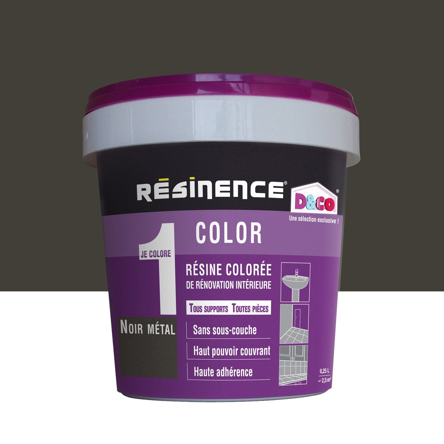 R sine color e color resinence noir m tal l leroy merlin for Peinture resinence color