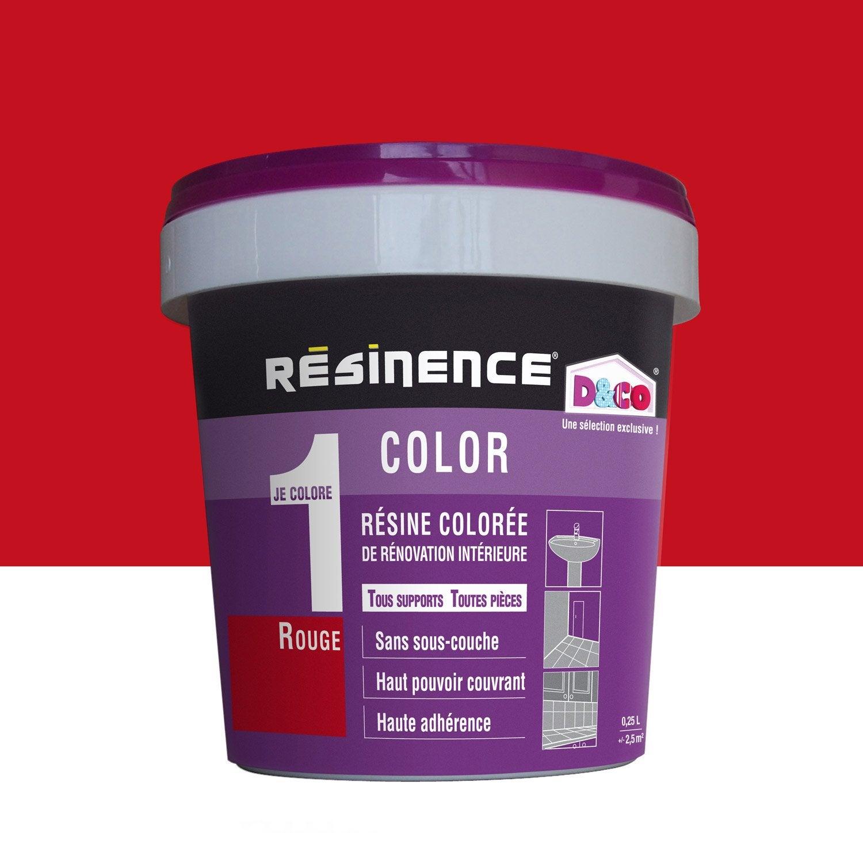 R sine color e color resinence rouge l leroy merlin for Prix peinture resinence