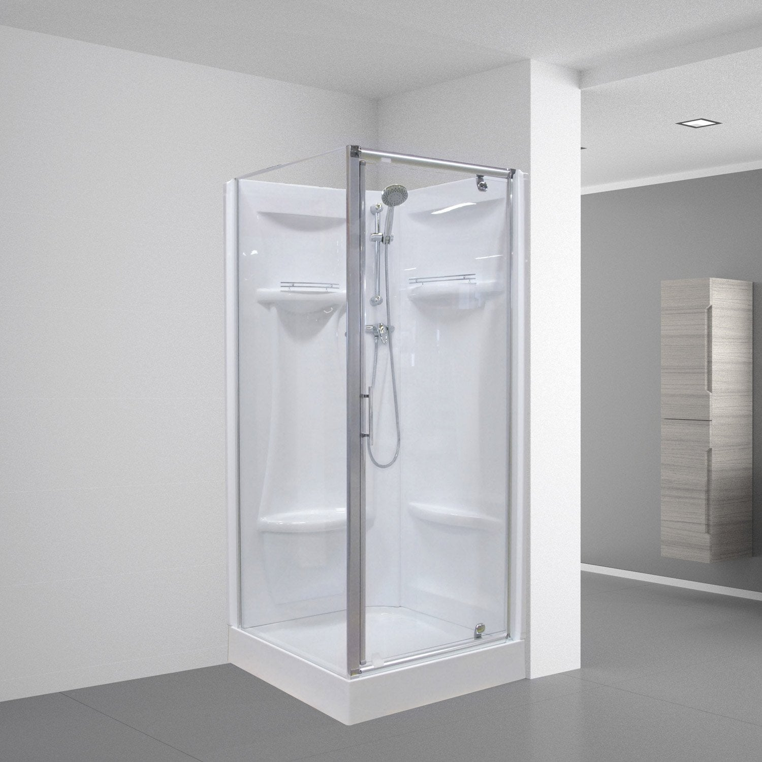 Cabine de douche dana simple carr 90x90 cm leroy merlin - Cabine de douche simple ...
