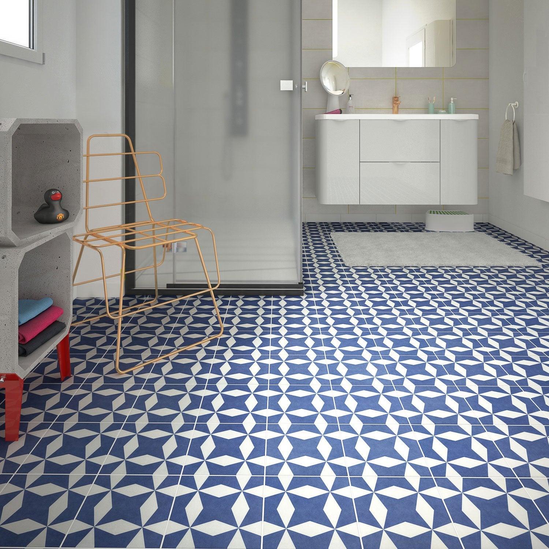 Carrelage sol et mur bleu blanc effet ciment d ment x cm leroy me - Carrelage effet ciment ...