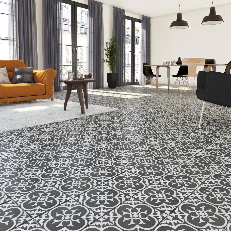 Carrelage sol et mur noir blanc effet ciment gatsby x for Ou acheter son carrelage