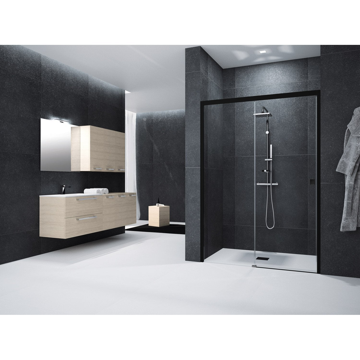 porte de douche coulissante 140 cm transparent neo leroy merlin. Black Bedroom Furniture Sets. Home Design Ideas