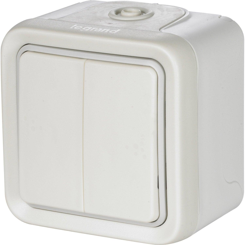 double interrupteur va et vient tanche legrand plexo blanc leroy merlin. Black Bedroom Furniture Sets. Home Design Ideas