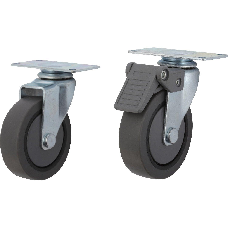 Roulette pivotante avec freins platine pour - Roulettes industrielles pour meubles ...
