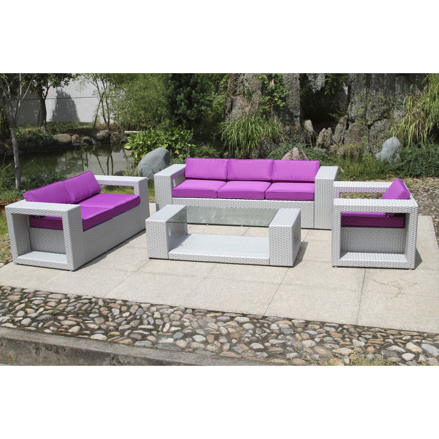 salon jardin mediterran e gris 1 canap 1 banquette 1. Black Bedroom Furniture Sets. Home Design Ideas