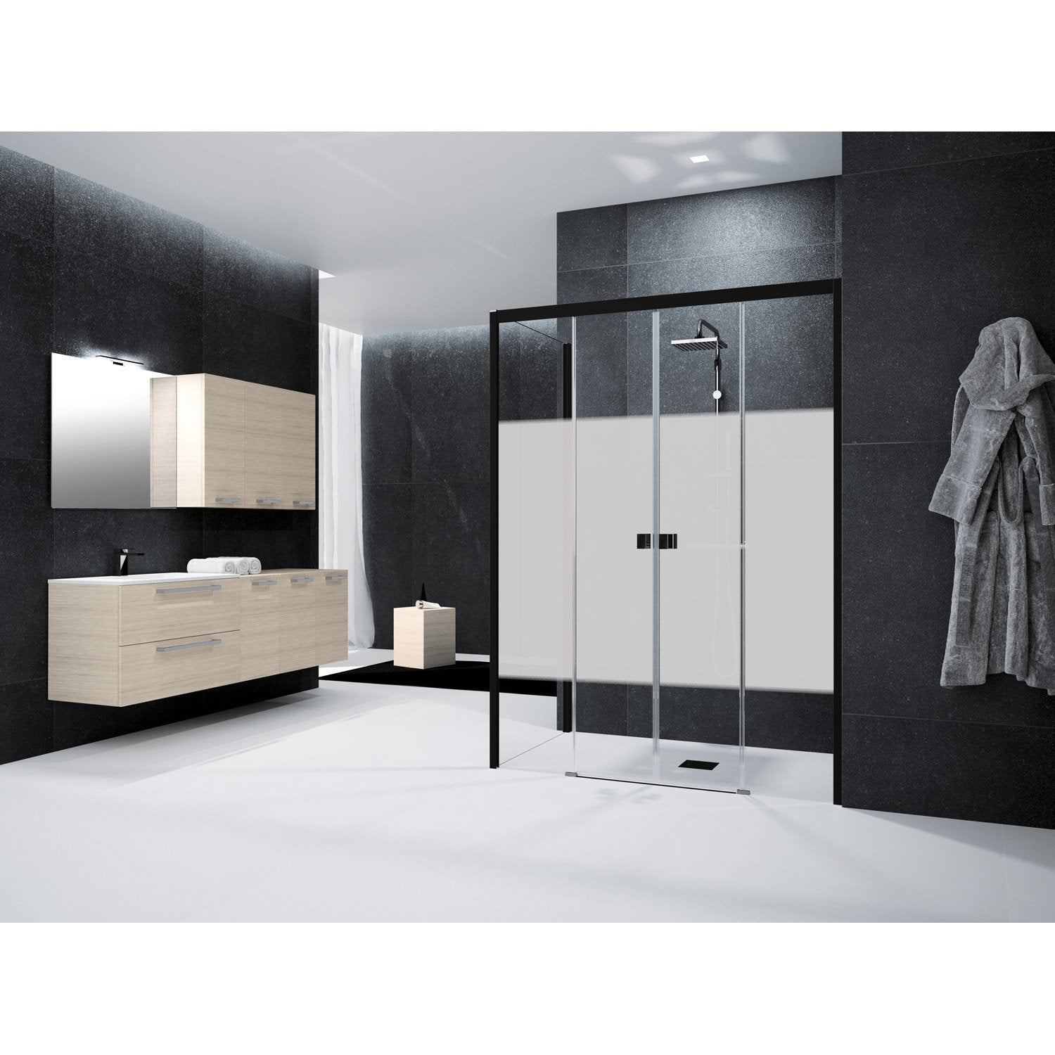 porte de douche coulissante 150 cm s rigraphi neo leroy merlin. Black Bedroom Furniture Sets. Home Design Ideas