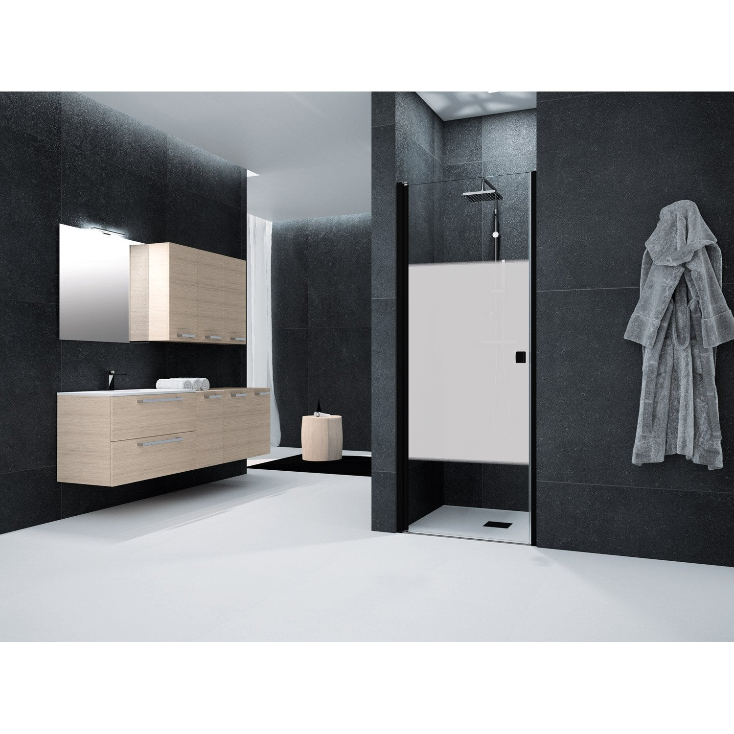 porte de douche pivotante 70 cm s rigraphi neo leroy merlin. Black Bedroom Furniture Sets. Home Design Ideas