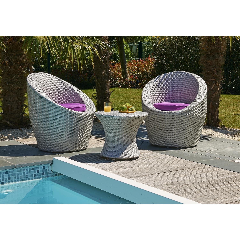Salon jardin Totem mediterranée résine tressée gris 2 fauteuils, 1 ...