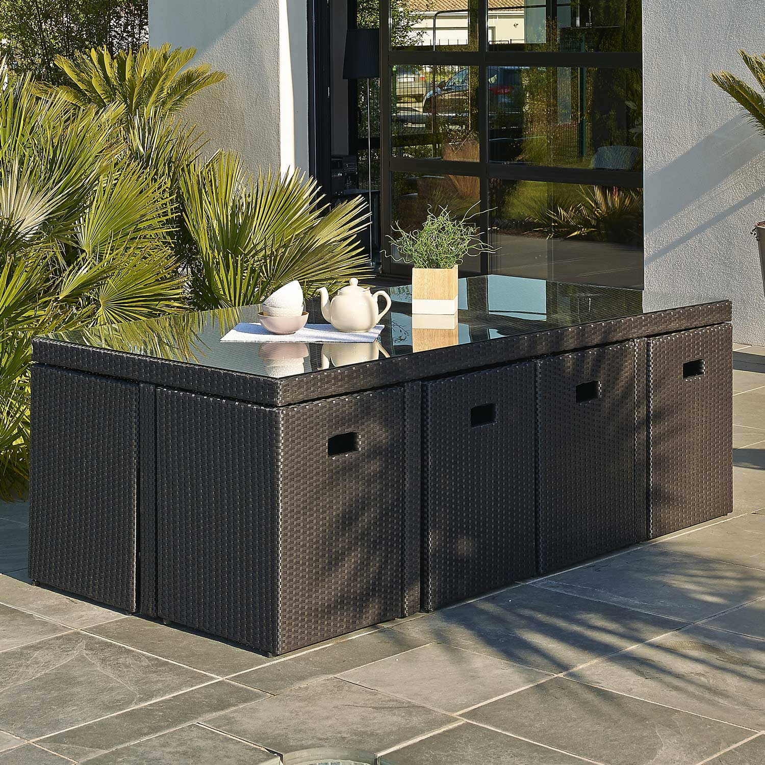 Salon de jardin encastrable r sine tress e noir 1 table - Salon de jardin resine tressee carrefour ...