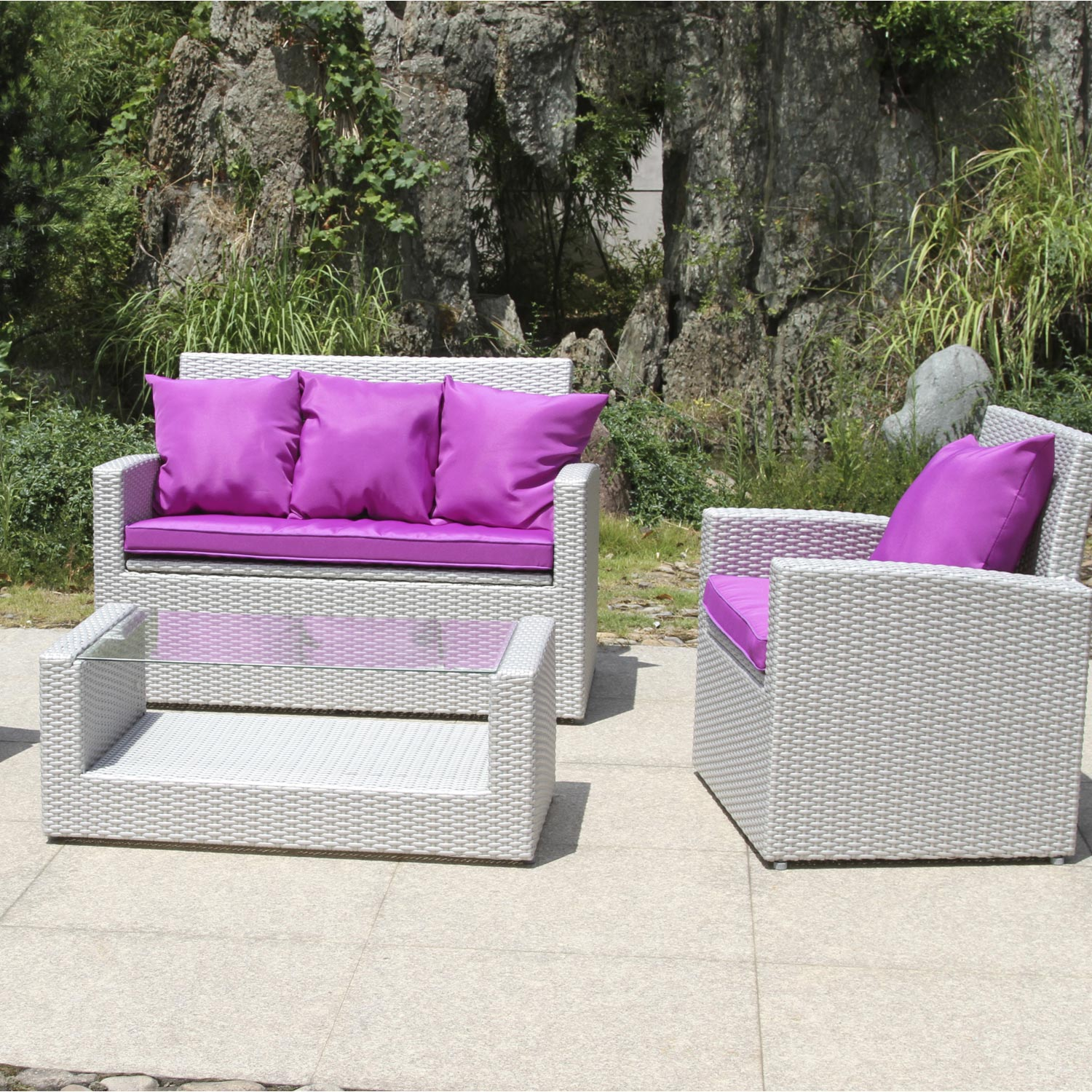 salon jardin mediterran e r sine plastique gris 1. Black Bedroom Furniture Sets. Home Design Ideas