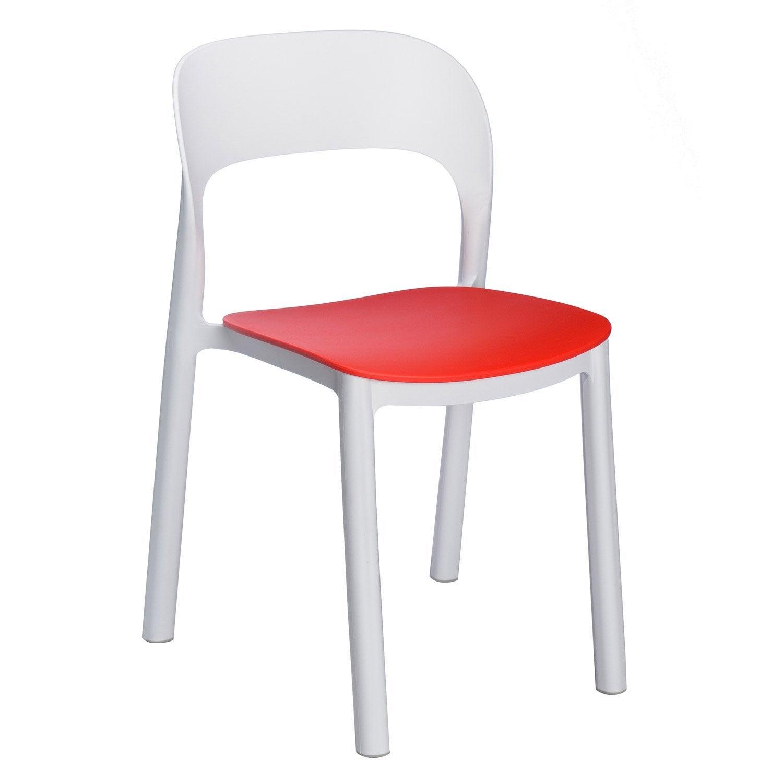 chaise de jardin en r sine inject e ona blanc rouge leroy merlin. Black Bedroom Furniture Sets. Home Design Ideas