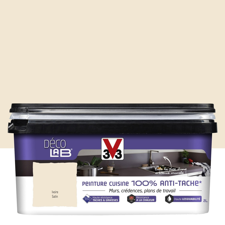 Peinture d colab 100 antitache v33 blanc ivoire 2 l for Peinture cuisine lessivable
