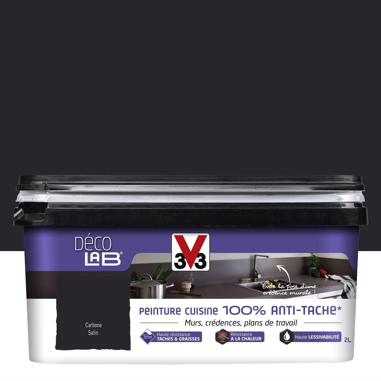 Peinture Décolab 100% antitâches V33, noir carbone, 2L
