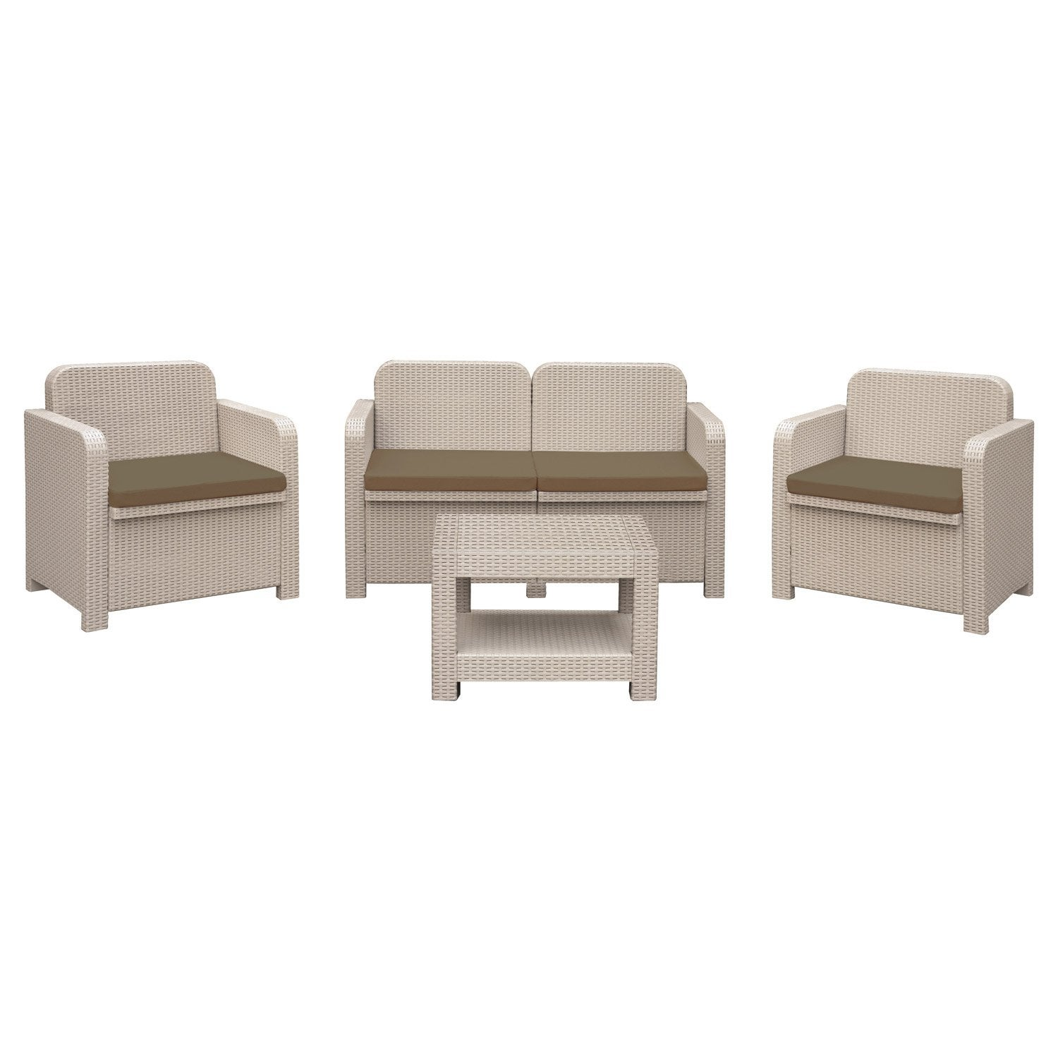Salon De Jardin Sorrento Grand Soleil Canap 2 Fauteuils Table Taupe Leroy Merlin