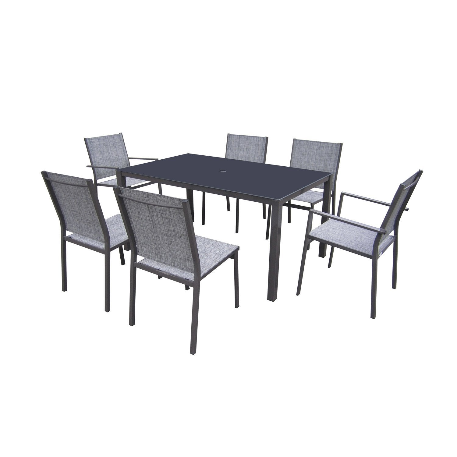 Salon de jardin denver acier gris anthracite 1 table 4 for Leroy merlin table jardin