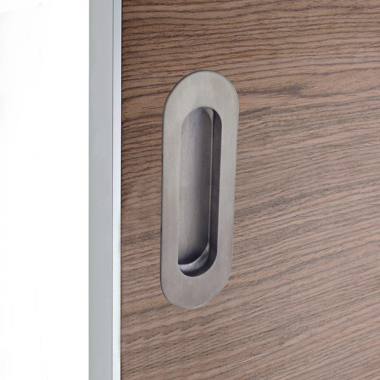 poign e porte coulissante ronde acier bross gris leroy merlin. Black Bedroom Furniture Sets. Home Design Ideas