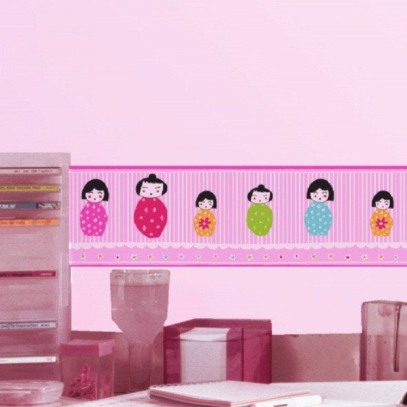 Frise vinyle adh sive poup es chinoises longueur 5 m leroy merlin - Leroy merlin frise adhesive ...