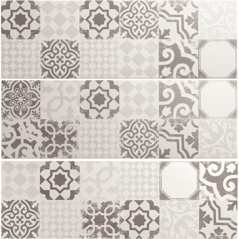 Fa ence mur mix blanc gris d cor tadelak x cm - Faience murale cuisine leroy merlin ...