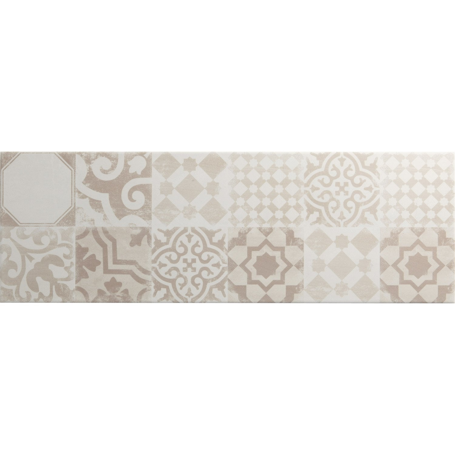 Fa ence mur mix blanc beige d cor tadelak x cm for Faience decorative murale