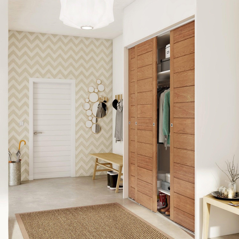 Porte de placard coulissante spaceo x cm leroy merlin - Interieur placard leroy merlin ...
