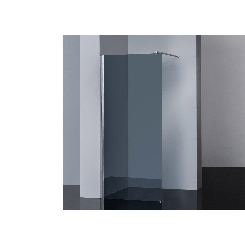 Paroi de douche l 39 italienne cm verre fum 6 mm open 2 6mm lero - Vitre douche leroy merlin ...
