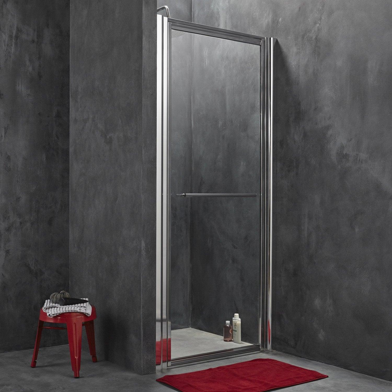 Porte de douche pivotante breuer palerme verre de s curit transparent ler - Leroy merlin porte en verre ...