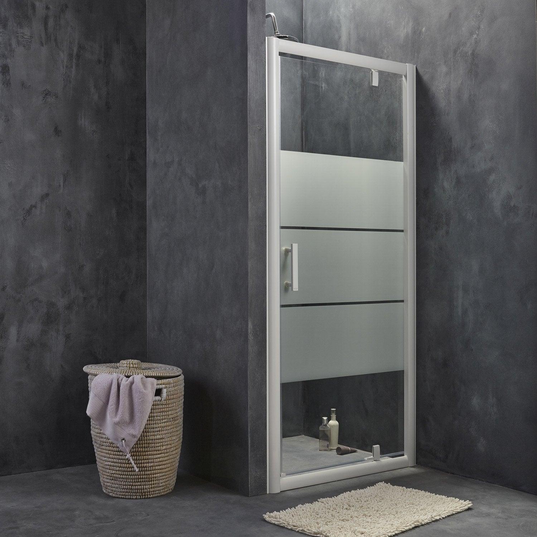 Porte de douche pivotante 86 5 90 cm profil blanc - Luminaire pour douche italienne ...