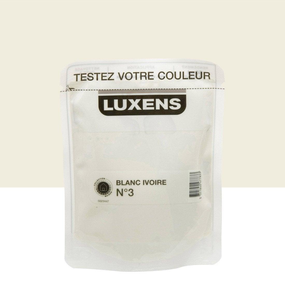 Testeur peinture blanc ivoire 3 luxens couleurs - Peinture leroy merlin luxens ...