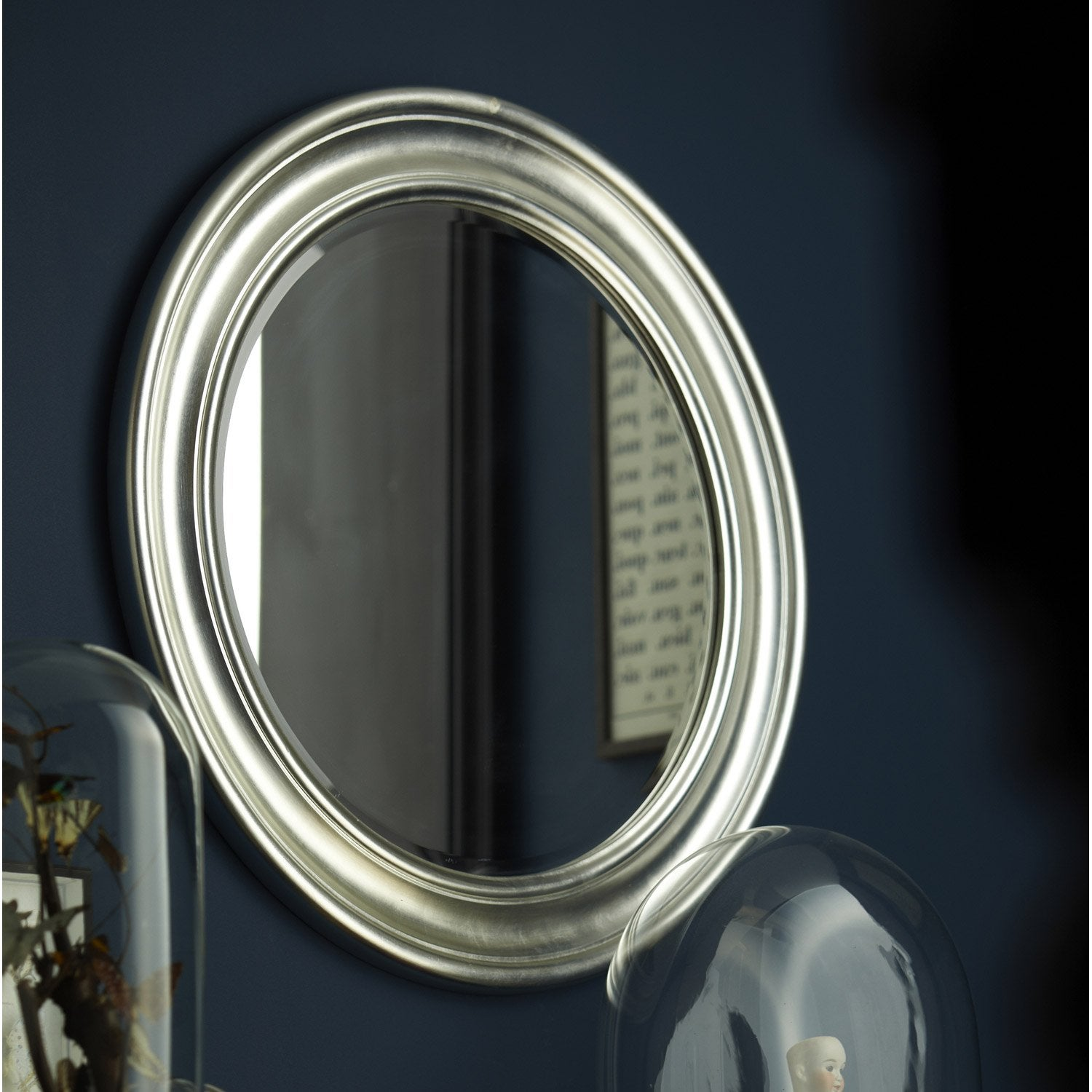 Miroir daventry rond argent x cm leroy for Grand miroir rond design