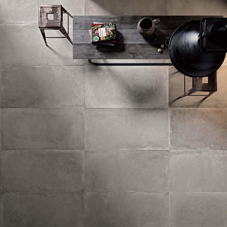Carrelage sol et mur gris cendr effet b ton harlem x for Carrelage 45x45 gris anthracite