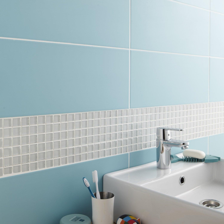 Faïence mur bleu atoll n°5, Loft mat l.20 x L.50.2 cm | Leroy Merlin
