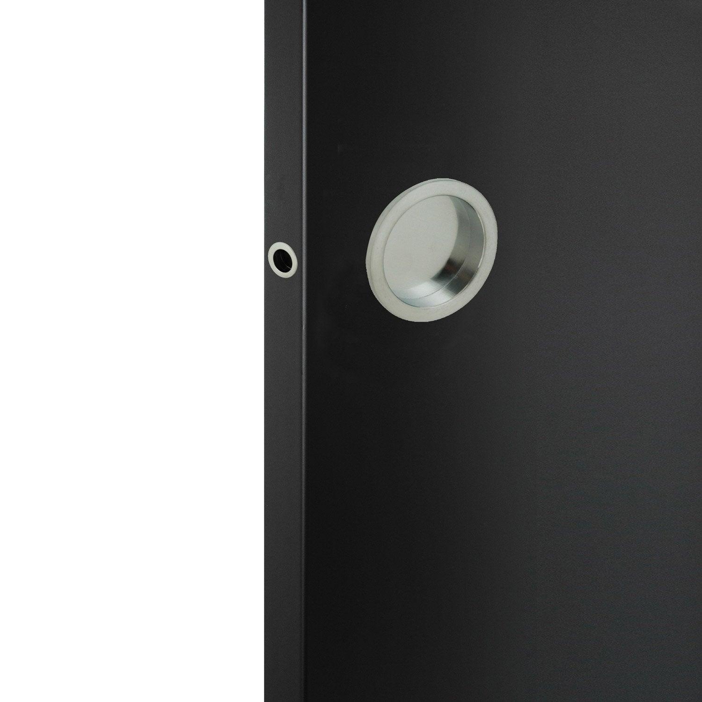 Kit de poign es porte coulissante ronde zamak nickel gris leroy merlin - Kit de porte coulissante ...