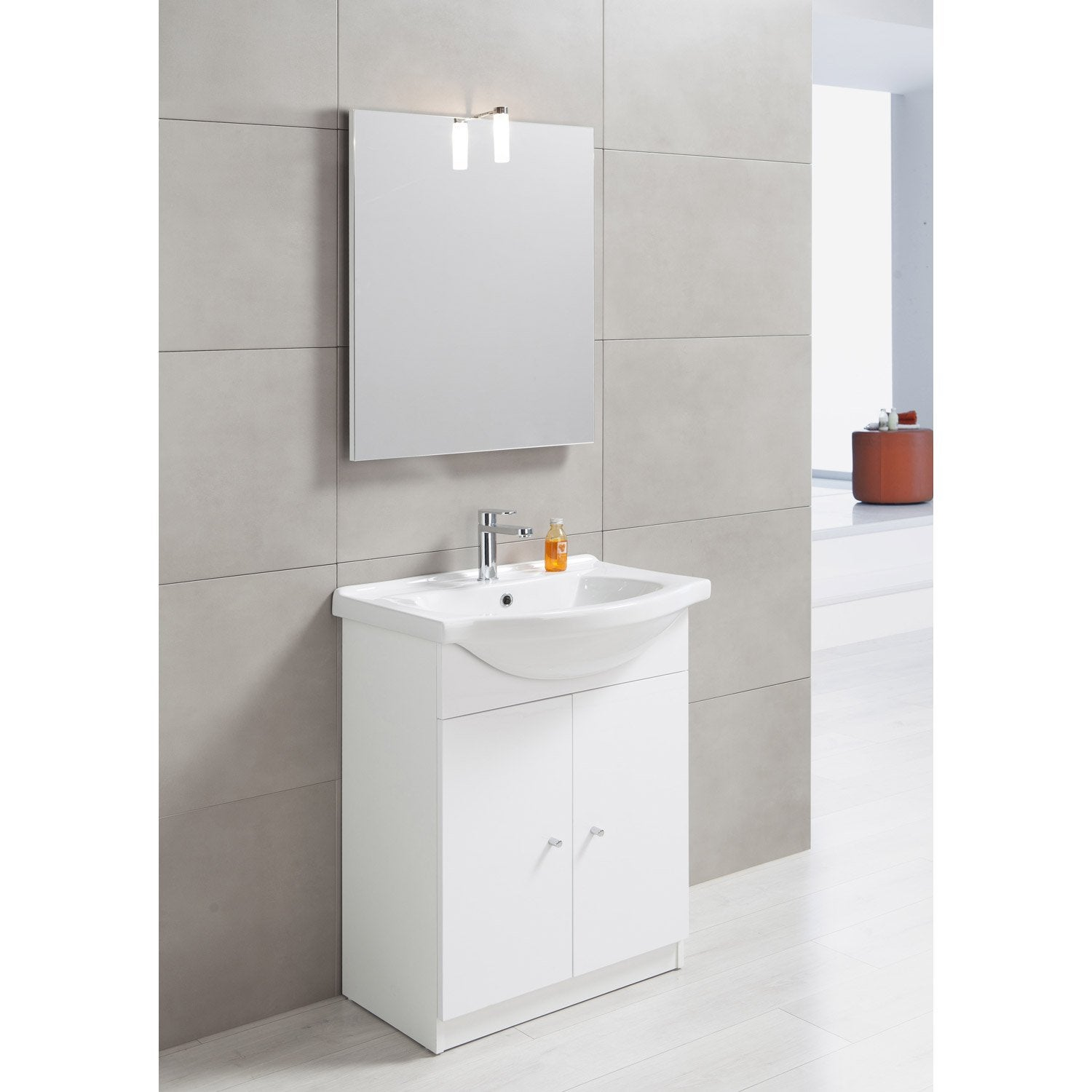 Meuble vasque x x cm blanc bianca leroy - Meuble 2 vasques leroy merlin ...
