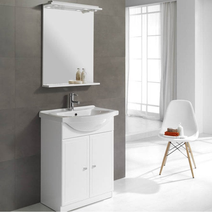 Meuble vasque x x cm blanc galice leroy for Leroy merlin meuble vasque salle de bain
