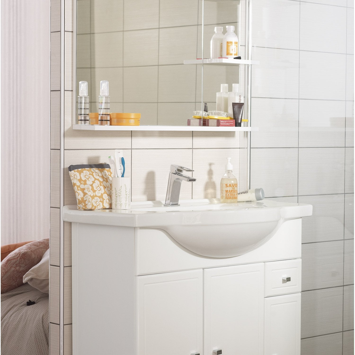 Meuble vasque 85 cm galice leroy merlin for Meuble salle de bain double vasque leroy merlin