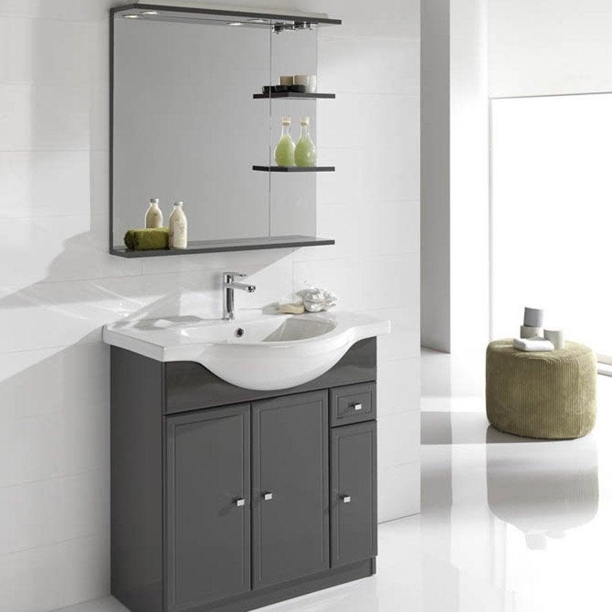 meuble vasque x x cm gris galice. Black Bedroom Furniture Sets. Home Design Ideas