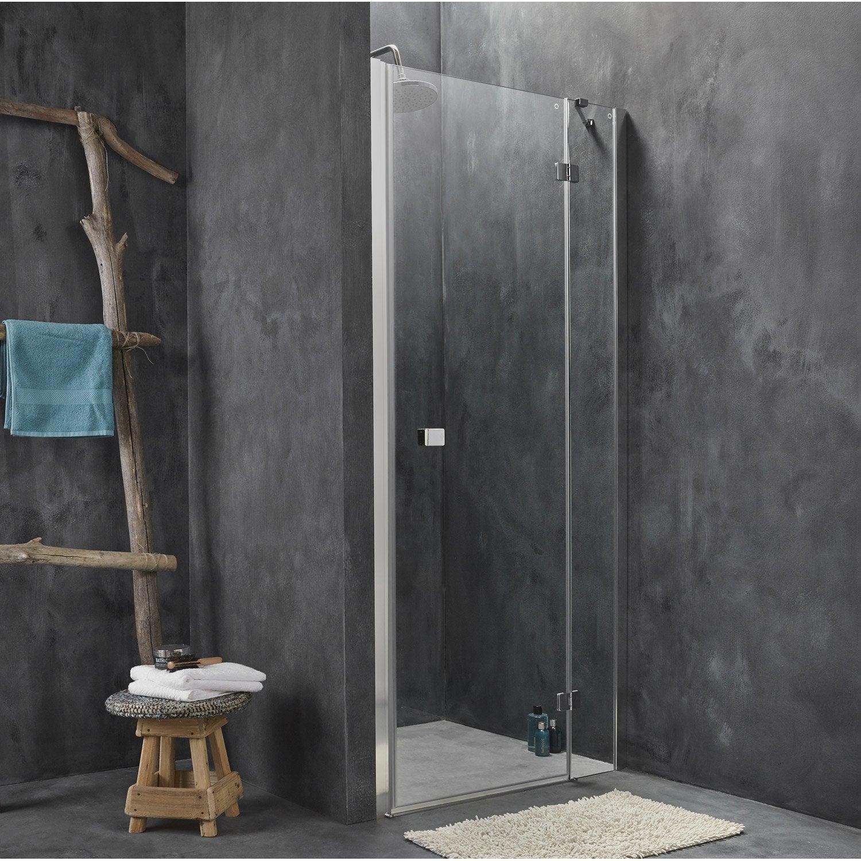 Porte de douche pivotante 88 90 5 cm profil chrom - Leroy merlin porte de douche ...