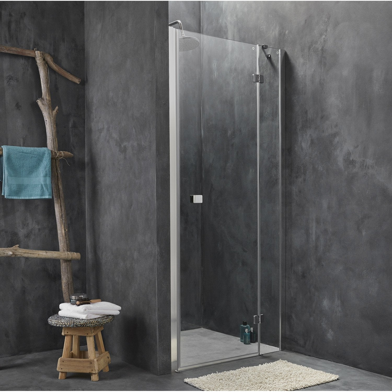 Porte de douche pivotante sensea premium 2 verre - Porte en verre leroy merlin ...