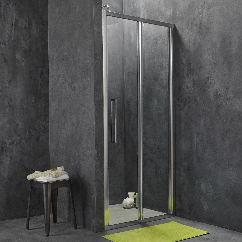 Porte de douche pliante 87 5 90 5 cm profil chrom - Leroy merlin porte de douche ...